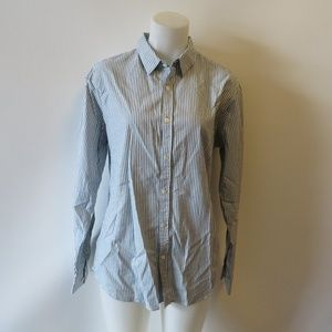 THEORY STRIPED BUTTON DOWN COLLARED SHIRT S: L *
